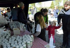 Har längtat. Tilda Sandelius Unga flyttade på sitt 4-årskalas för att inte missa kosläppet på Sverkesta. Här köar Tilda för att få fika bulle och mjölk med mamma Marie och pappa Leif.