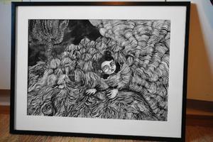 Agnes Horneij målar mest i svartvitt eftersom det ger henne merutrymme att fokusera på berättandet och former.För att göra detta konstverk har Linda Svedberg kavlat ut lera och satt ihop. Sedan har det tagit enormt mycket tid att göra alla små tegelstenar.