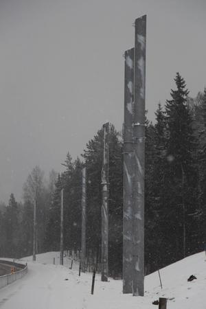 Elvägen utanför Sandviken är under konstruktion.