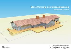 Förslag till ny servicebyggnad på Stenö camping, enligt kultur- och samhällsutvecklingsförvaltningens ansökan om förhandsbesked.