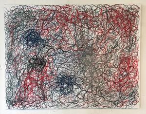 Med inspiration av Jackson Pollocks abstrakta expressionism har Ingegerd skapat sin egen textila tolkning. Foto: Moa Lindstedt