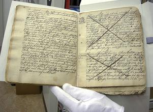 Protokoll från en häxprocess. Tillhör Västernorrlands Länsmuseum Murberget.