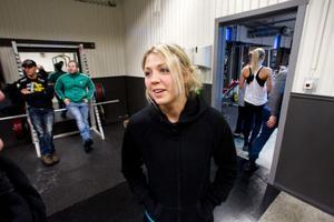 Elin Nyman var ensam tjej i styrketävlingen.