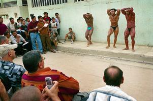är arrangeras mästerskapen i Irak. Männen har smort in sig med babyolja och läppstift för att framhäva  formerna.
