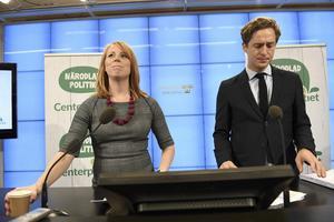 Centerpartiets partiledare Annie Lööf och ekonomisk-politiske talespersonen Emil Källström. Foto Jessica Gow /TT