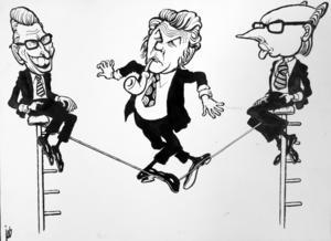Torbjörn Fälldins balansgång i regeringsfrågan. Gösta Bohman och Per Ahlmark drog åt varsitt håll. Införd i tidningen GT 1976.