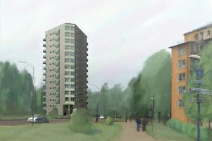 Här är Bollnäs Bostäders skiss på det planerade höghuset med Onbacken till vänster.