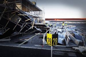 Så här såg det ut på skidstadion efter att stormen Hilde.