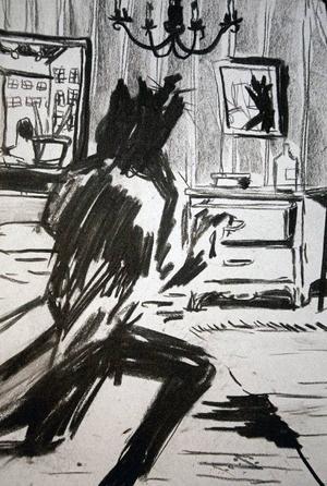 Drömfigurer som kastats ned med kolkrita visar Robin Montelius på Ahlbergshallen.