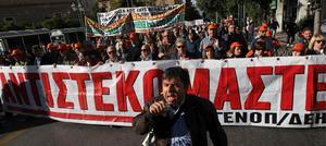Grekiska protester mot åtstramningar i den ekonomiska krisens spår.