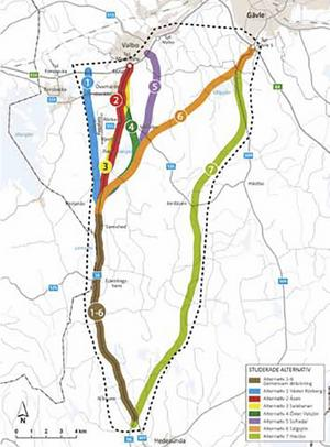 De sju alternativen Trafikverket utrett på nytt. Alternativ 4, 5 och 7 är nu de som verket förordar. Alternativ 4 går öster om Valsjön och ansluter till den gamla sträckningen vid Överhärde, Alternativ 5. också öster om Valsjön men ansluter till E 16 vid trafikplats Nybo. Alternativ 7 är en helt ny sträckning från Hedesunda mitt emellan väg 56 och länsväg 509 in till trafikplats Gävle södra.