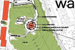 En skiss över placeringen av det nya höghuset i Falun.