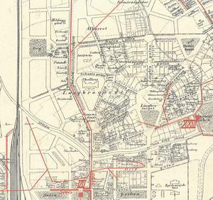 Del av karta Längbrogärdet 1914.