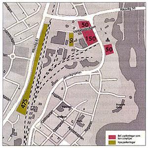 Den gulgröna markeringen till vänster visar området för en ny parkering med 475 platser.