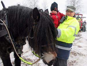 Ingvar Boo och barnbarnet Axel Boo klappar brukshästen Isabell som visade upp sin arbetskapacitet. BILD: SAMUEL BORG