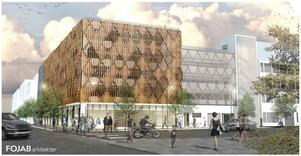 Så här är det tänkt att parkeringshus Däcket på Öster Mälarstrand ska se ut.