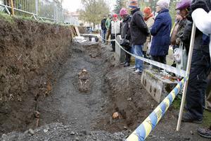 Totalt var det runt 60 till 70 personer som kom till Frösö kyrka i snövädret för att få se skeletten innan de fraktas till Jamtli.