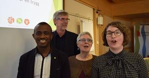 Den rödgröna landstingsledningen - Mursal Isa (MP, Gunnar Barke (S), Maja Gilbert Westholm (V) och Elin Norén (S).