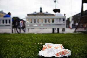 Att kasta ett hamburgerpapper vid Rådhustorget kan leda till böter på 800 kronor.