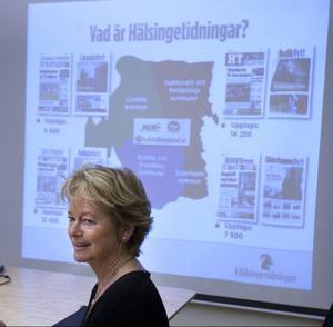 Lena Adelsohn Liljeroth besökte Hälsingetidningar i Hudiksvall vid sitt senaste besök i maj