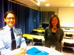 Länspolismästare Christina Forsberg och polisens kommunikationschef Ulrica Hjerpe.