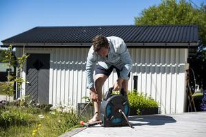 De två senaste åren har Gustafsson med familj inte åkt på någon utlandssemester efter säsongen, utan tillbringat tiden i stugan utanför Sundsvall.