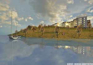Här ses Orionkullen från kanalen med gamla flickskolan till vänster och de nya flerbostadshusen till höger.