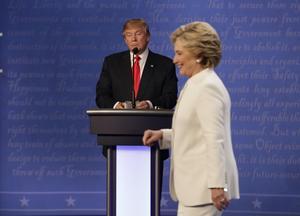 Donald Trump och Hillary Clinton vid en av debatterna.
