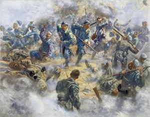 Franska soldater återtar Fort de Douamon under slaget vid Verdun 1916. En miljon franska och tyska soldater stupade eller sårades under slaget. Målning av Henri Georges Jacques Chartier.