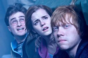 Slutet. För sista gången gör Daniel Radcliffe, Emma Watson och Rupert Grint rollerna som Harry, Hermione och Ron.
