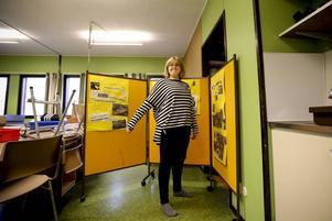 I tävlingsmomentet ingår marknadsföring så klassen har lagt ner mycket tid på att göra en bra monter. Här ser vi Elvira Bergstedt, 13 år.