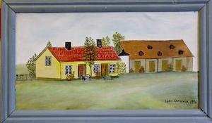 Då. Sockerbruksladan med ett gult trähus i förgrunden. Huset är rivet, men sockerbruksladan står kvar i Stenebergsparken.