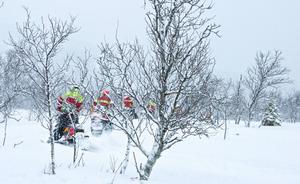 Under helgen har fjällräddarna i Härjedalen övat på fjällsidan upp mot Kariknallarna utanför Bruksvallarna. Det har varit snöfall, runt noll grader och svag vind. Ungefär 50 fjällräddare har deltagit