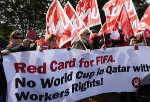 Protester 2013 mot Fifa för att Qatar fick VM i fotboll 2022.
