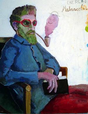 """""""Berlin Melancolia"""" föreställer den piprökande  finske konstnären Akseli Gallen-Kallela."""