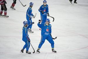 Daniel Mossberg (till höger) firar mål med Johan Östblom.