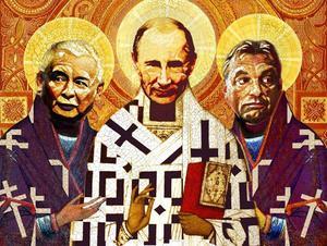 I dag används religionen som ett sätt att legitimera makten i länder som Ryssland, Polen och Ungern. Illustration från bokomslag.