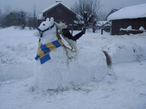 Mina två döttrar byggde denna fina snöhäst och katten Prinsessan ville förstås ta sig en ridtur.