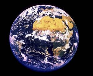 Jorden. Satellitbild av jordklotet.