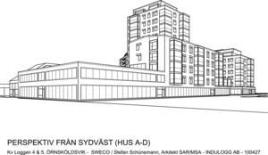 Ungefär så här är det tänkt att bygget vid Fjällräven Center ska se ut.