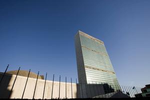 FN:s högkvarter i New York, där säkerhetsrådet möts. Sverige hoppas få en plats i rådet efter årsskiftet.    HENRIK MONTGOMERY/TT
