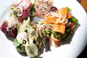Smakprov från menyn. Fransk rödbetsbiff med dijon och kapris, lax, olika raw-sallader med bland annat morötter, gröna linser, rödlök och spenat.