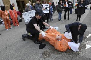 Här är en bild från en protest mot skendränkningar i New York 2009.
