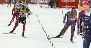 Sergej Ustiugo spurtade ned Martin Johnsrud Sundby för tredje raka etappsegern i inledningen av Tour de ski. Axel Ekström, infälld, var en placering från världscuppoäng, på 31:a plats.