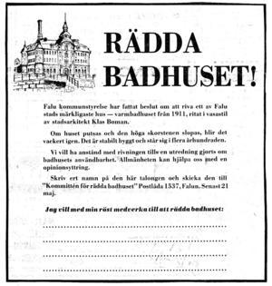 Rädda badhus-gruppens appell kom ut i maj månad 1973. Teckningen av Walter Forslund.