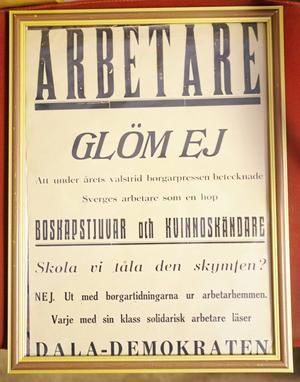 En affisch till stöd för Dala-Demokraten och dess läsare.