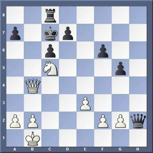 Vad spelade vit?Lösning: 1.Sa6+ Kd8 2.Df8 matt.