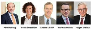 Ledningsgruppen för det nya bolaget Epiroc. Per Lindberg, Helena Hedblom, Anders Lindén, Mattias Olsson och Jörgen Ekelöw.