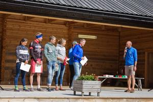 Segrarna i årets tävling, Åsa Erlandsson - cykel, Lars Bleckur - cykel, Stina Nilsson - Rullskidor (ej på bild), Jimmy Jonsson - rullskidor, Annika Löfström - Queen of the hill och Lars Suther - King of the hill.