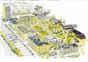 Så här kan kasernområdet se ut i framtiden. Höghuset med hotellet syns längs bort till vänster på bilden. Inte långt från hotellet skulle ett lägre hus med antingen bostäder eller kontor byggas.Illustration: SWECO/Lennart Köpsén